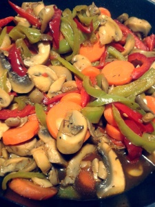 merluza con verduras y salsa de soja